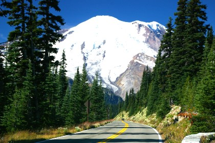 The road leading up to Mt. Rainier, Washington.